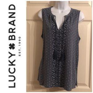🆕 Lucky Brand Mix Print Tassel Tie Neck Tank